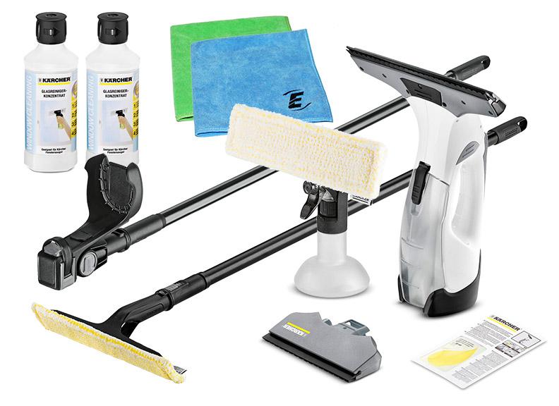 k rcher akku fenstersauger set wv 5 premium plus weiss verl ngerung ebay. Black Bedroom Furniture Sets. Home Design Ideas